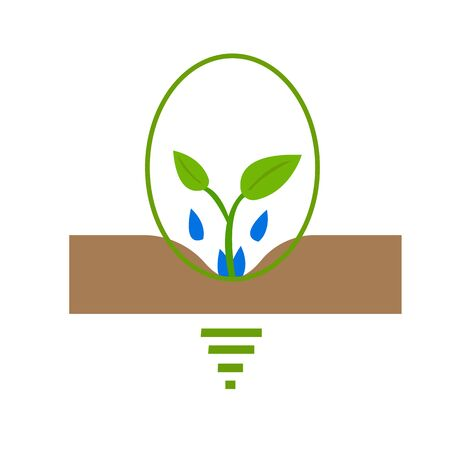 sprout grows in the soil drops of water moisten its roots light bulb symbol of idea the concept of agriculture and gardening 向量圖像