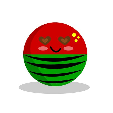 watermelon cartoon character with a kind smile eyes from seeds in the form of a heart half covered with a peel with patterns of black stripes concept of summer and fruit