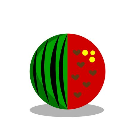 cartoon watermelon with seeds in the form of hearts half peeled and the other covered with peel concept of summer and fruit