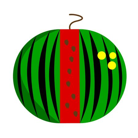 ripe watermelon with red flesh green peel and black stripes patterns concept of fruit and summer Ilustração