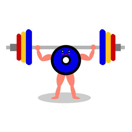 cartoon character with strong muscles raises the sport barbell concept of healthy lifestyle and training