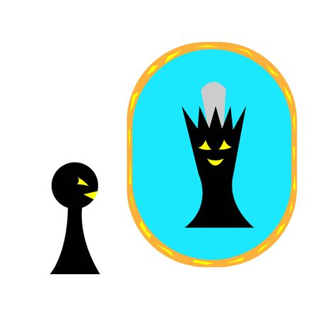 pawn sees in the mirror the queen cartoon characters isolated on white concept of board games and personal growth
