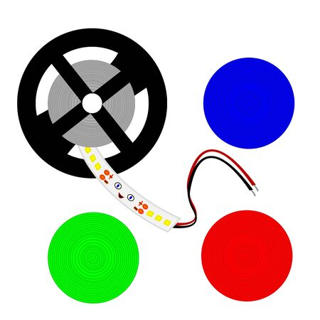 Light-emitting diode Strip reel multicolored round patterns blue green and red objects for design industry concept