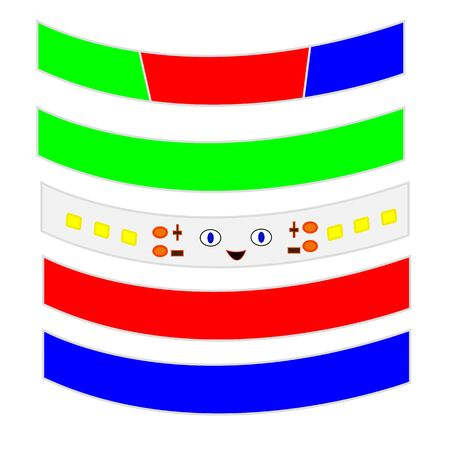 Light-emitting diode Strip cute smile details close up different colors character for design industry concept