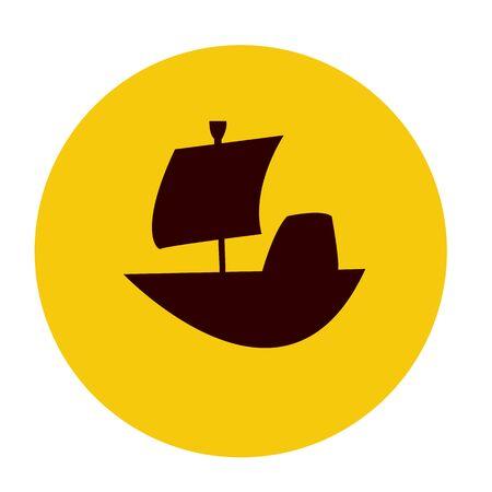 ship silhouette on orange sun background concept of travel and sea adventure