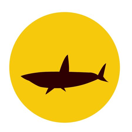 shark silhouette on the background of a round orange sun. the concept of marine life and adventure