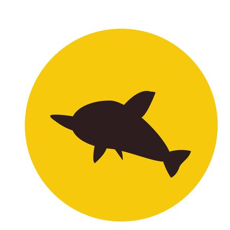 jumping dolphin silhouette on orange sun background concept of marine adventure and tourism