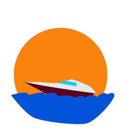 cartoon boat sailing on blue sea waves on the background of the setting orange sun. concept of travel and vacations