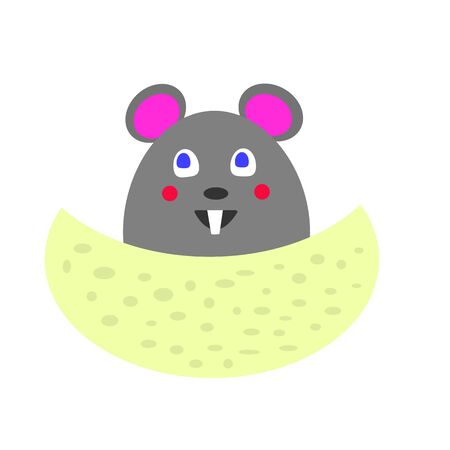 cartoon gray mouse for a piece of cheese with holes the concept of cute and pet