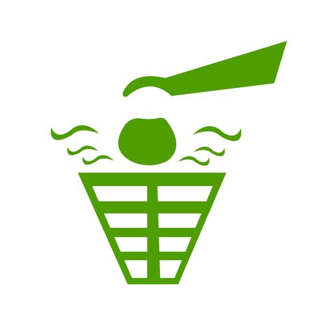 hand throws stinky garbage into the bin icon for design ecology concept Çizim