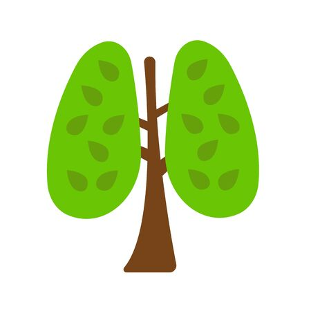 tree in the form of human lungs brown trunk and green leaves environment and ecology concept Çizim