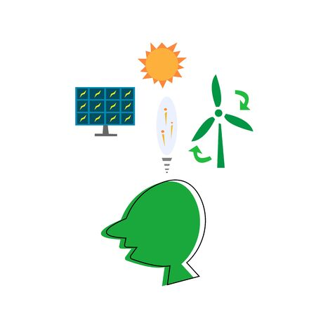 human ideas about clean ecology solar battery wind power plant cleanliness concept