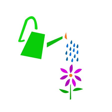 green watering can water a flower with bright purple petals blue drops of water gardening and environment concept