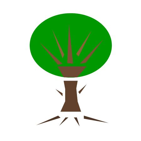 natural tree with big green crown sharp branches environmental concept on a white background