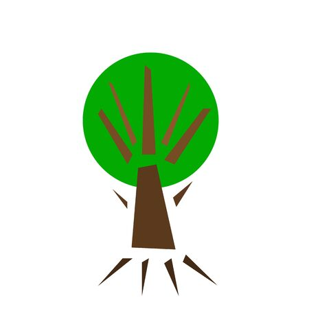 summer tree with green crown for design on a white background