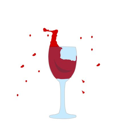 splash of red wine in a glass around small drops alcohol drinks concept
