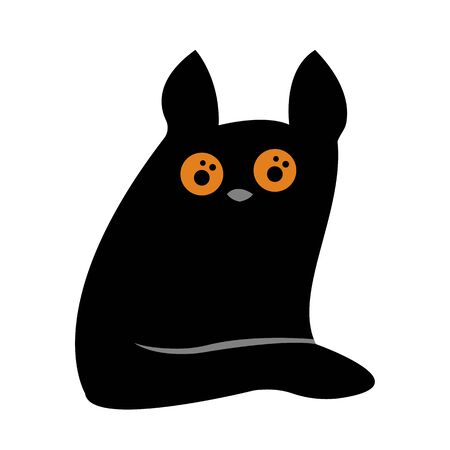 black cat with round orange eyes sits on a white background animal concept for design Çizim