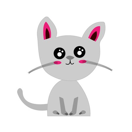 cartoon gray kitten sitting on a white background cute and funny pets concept