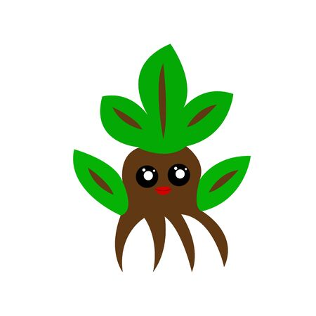 cute tree with red lips with big black eyes and green leaves forest character for nature concept design