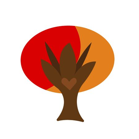 tree with a heart-shaped pattern and orange-red top autumn for design concept of nature and golden season on a white background