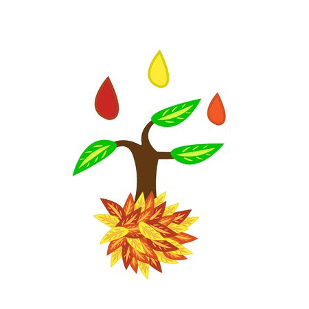 tree with green leaves onto which drops of autumn paint fall natural for design golden season concept
