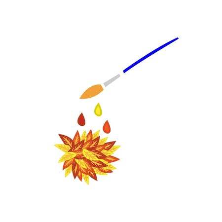 paint drop brush and colorful autumn foliage natural for design
