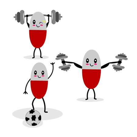Set collection of cute fitness Capsule pill characters exercising with dumbbells and barbell in various poses to keep themselves fit