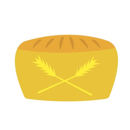 loaf of bread with patterns in the form of spikelets concept of flour and baking nourishing and appetizing food  イラスト・ベクター素材