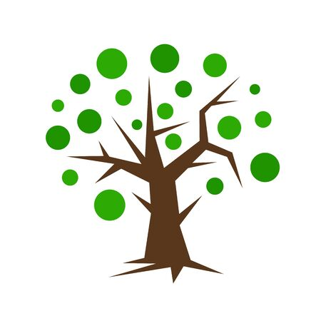 tree with sharp branches twigs and roots natural for design round patterns green leaves concept of nature and parks