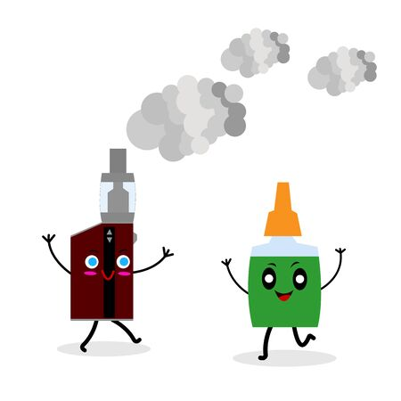 electronic cigarette vapor and liquid vial funny cartoon characters with cute smiles smoking concept