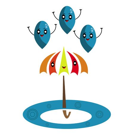 umbrella drops and puddle cartoon characters for design cute and funny bright and colorful concept of autumn and rain Çizim