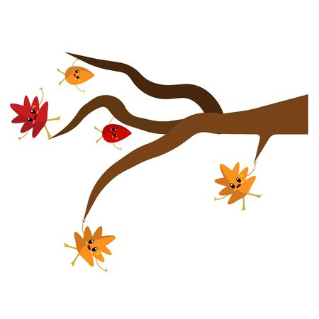 multicolored cartoon characters autumn leaves hold on to a tree branch so as not to fall concept of nature and the golden season Иллюстрация