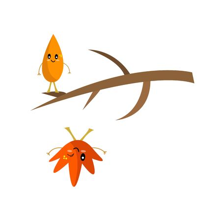 autumn leaves and tree branch funny cartoon characters with kind smiles concept of golden season and nature Çizim