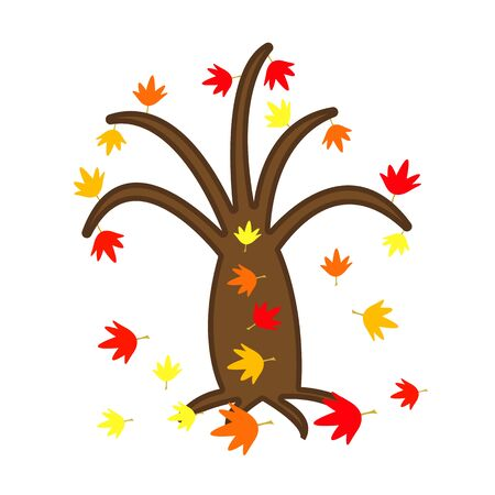 autumn leaves are bright and colorful fall from a tree natural for design concept of golden season and nature