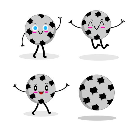 footballs set of cartoon characters on a white background friendly and amusing with bewitching smiles sport concept