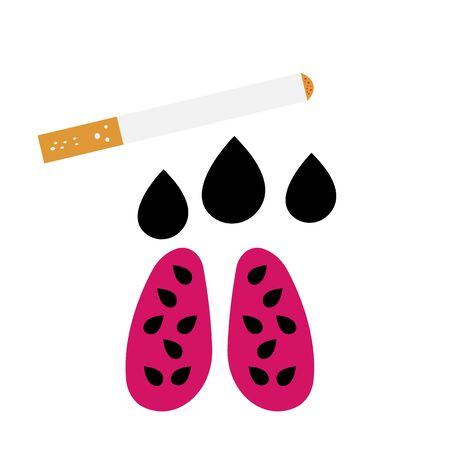 cigarette and contaminated human lungs in black spots concept of smoking and health damage  イラスト・ベクター素材