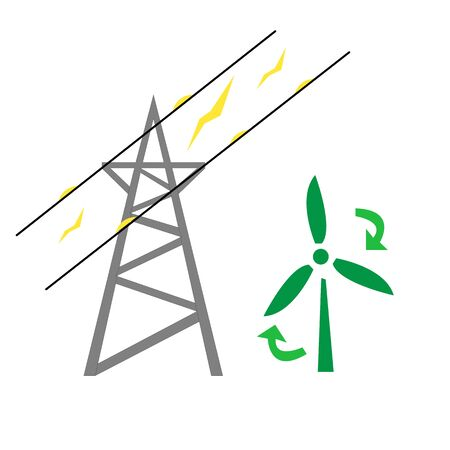 power lines current by wire and wind farm power industry and ecology concept