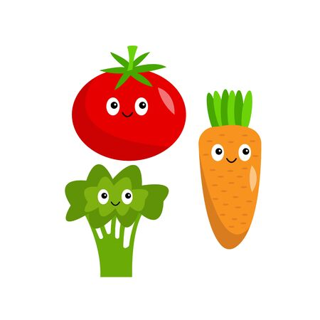 tomato broccoli and carrots healthy vegetables cartoon characters with cute smiles on a white background food concept