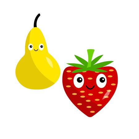 pear and strawberry cartoon characters with cute smiles on a white background fruits containing vitamins healthy eating concept