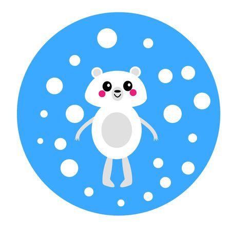 polar bear on a blue background and falling snow animal winter and christmas concept Çizim