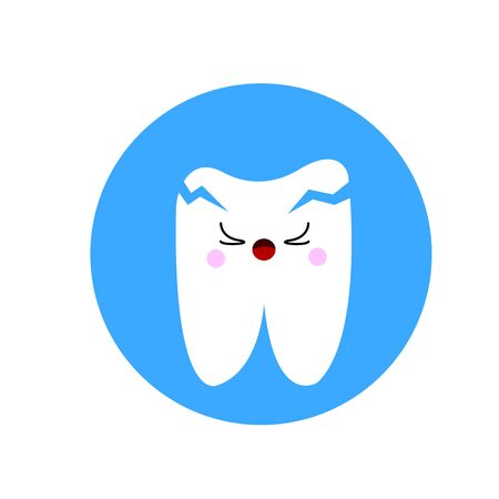 human tooth with cracks crying from pain cartoon character for design concept of health and dentistry