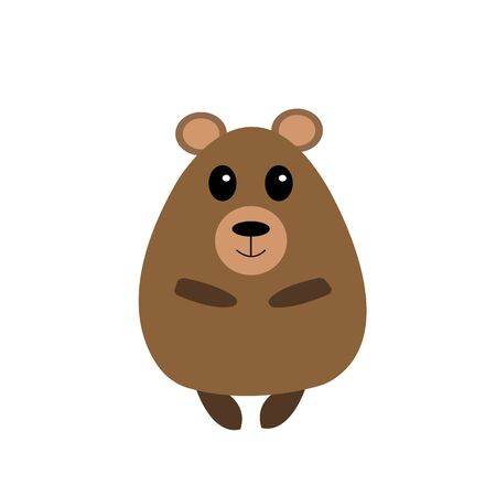 cute and fat brown bear cartoon character for design on a white background concept of wild animals