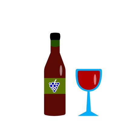 bottle and glass with red wine a bunch of grapes on a label concept concept popular alcoholic drink object for design on a white background Çizim