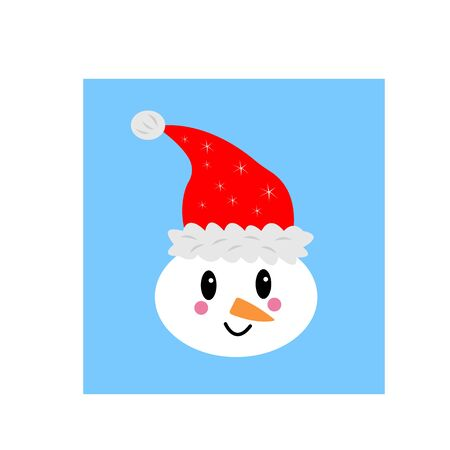portrait of a snowman in santa claus hat on blue background winter and christmas concept