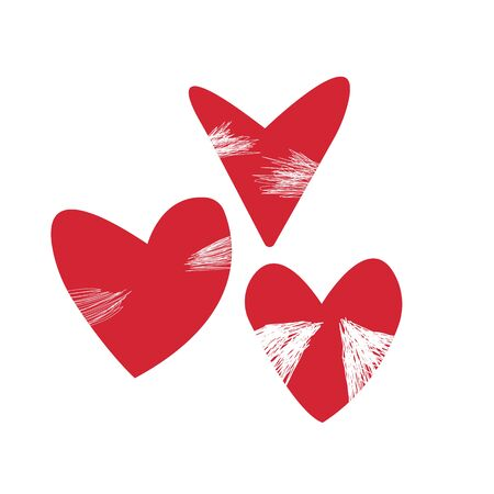 red partially blurred hearts symbol of love objects for design on a white background lovers day concept