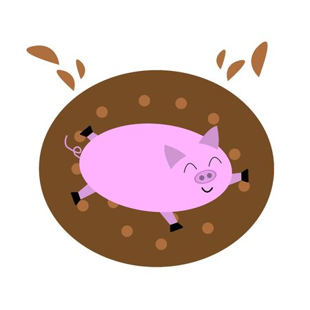 pig lies in a puddle of mud brown drops fly funny animal with a sweet smile emotion of joy and happiness