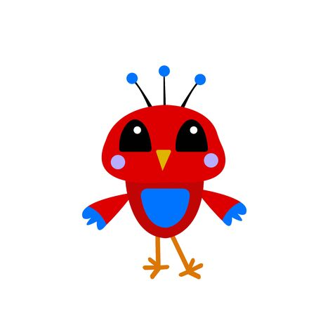 red bird with blue patterns on a white background concept of feathered friends and animals