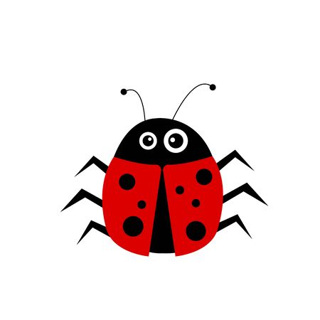 funny ladybug with different sized eyes on a white background animal and insect concept cute cartoon character for design
