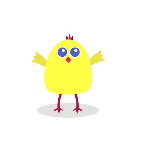 yellow chick with big blue eyes cartoon character for design concept of birds and animals