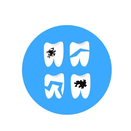 human teeth with defects cracks and holes on a blue background concept of health and dentistry
